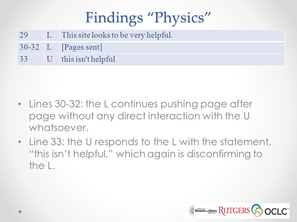 Findings Physics 29. L. This site looks to be very helpful. 30-32. [Pages sent] 33. U. this isn t helpful.